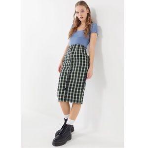 Urban Renewal Remnants Plaid Button-Front Skirt